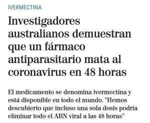 Noticia sobre fármaco coronavirus